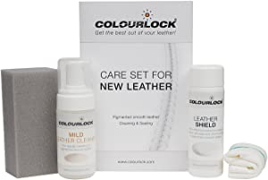 COLOURLOCK Leather Shield Clean & Care Kit   Protect Against Ink & dye Transfer and Friction Damage   Leather car interiors, Furniture, Apparel, Shoes, Bags and Accessories   Mild Cleaner