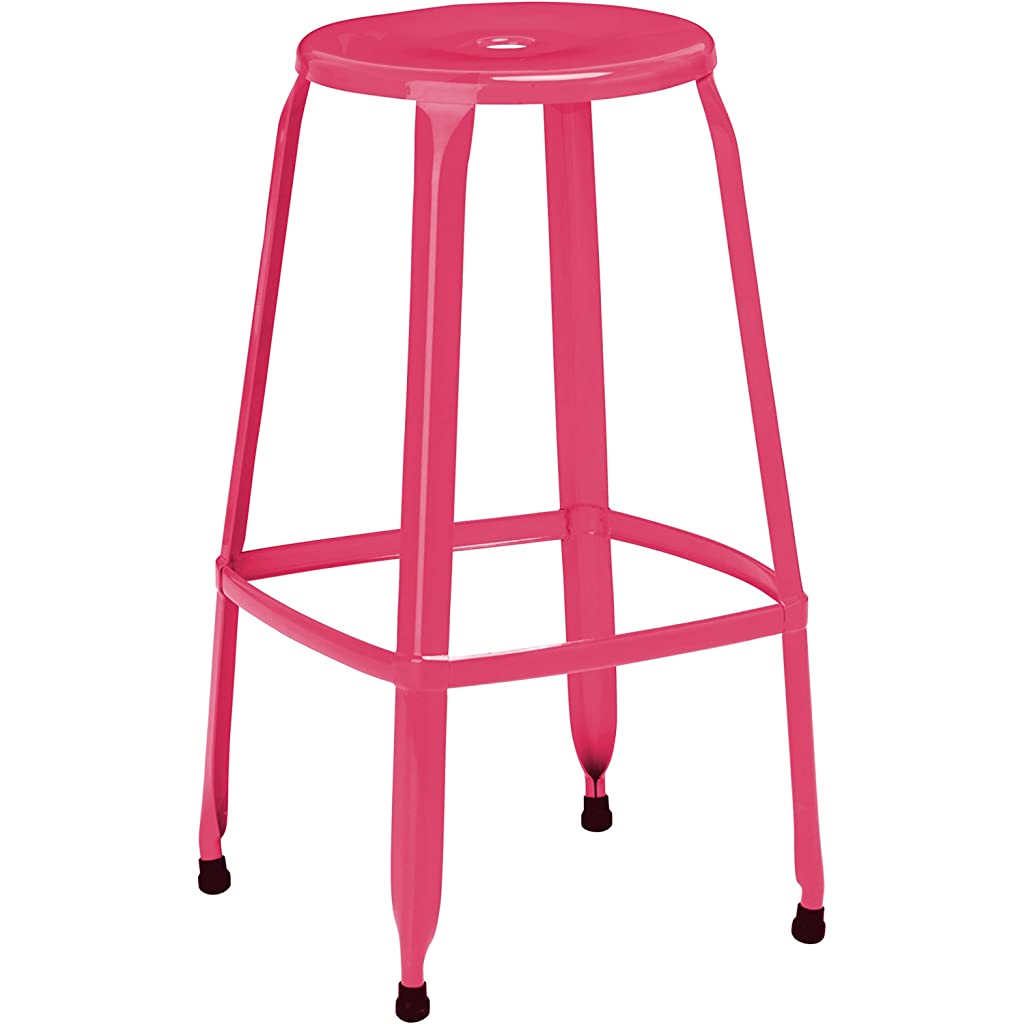 Premier Housewares 76 cm Hot Pink Kitchen Bar Stool with Step Set of 2