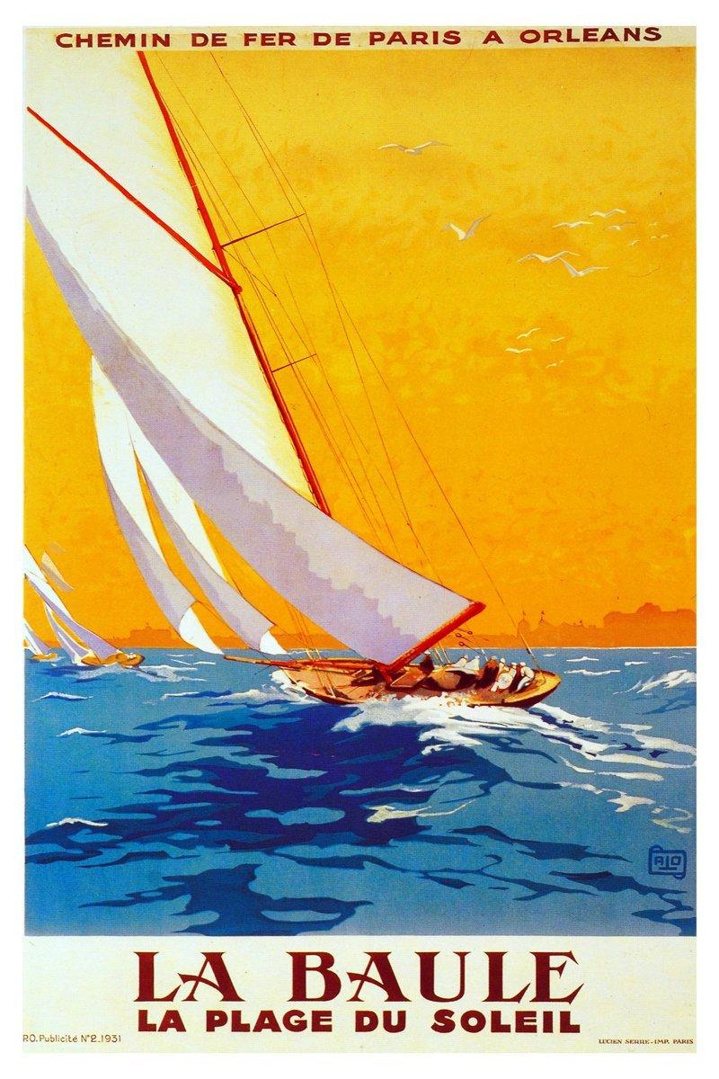 Posters Universe 18x24 Decoration CANVAS.Interior design.Room art.La Baule sailing.French.7401