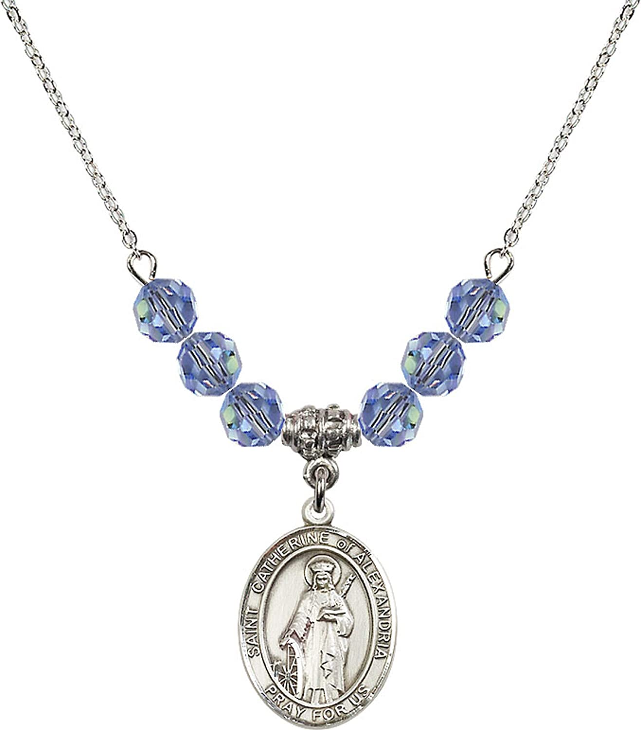 Bonyak Jewelry 18 Inch Rhodium Plated Necklace w// 6mm Light Blue September Birth Month Stone Beads and Saint Catherine of Alexandria Charm
