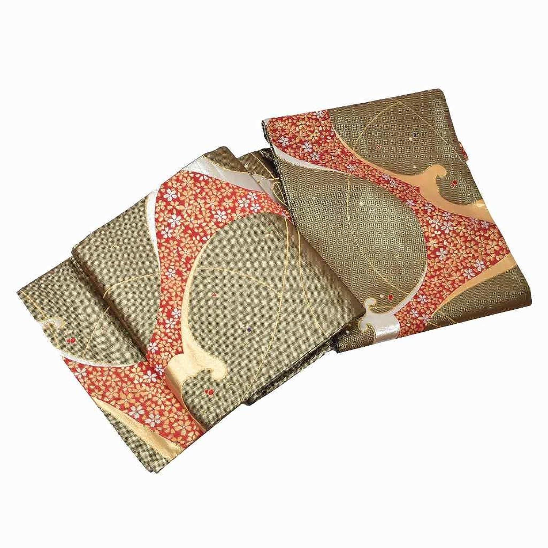 袋帯 リサイクル 中古 正絹 振袖 ふくろおび 錦織 桜文様 金系 ll1509b B07F6B9TXJ  -