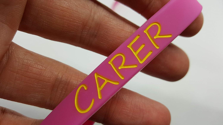 2x Pink www.wristbandsforyou.com 2x CARER Wristband MEDICAL AWARENESS ALERT BRACELET i am a carer