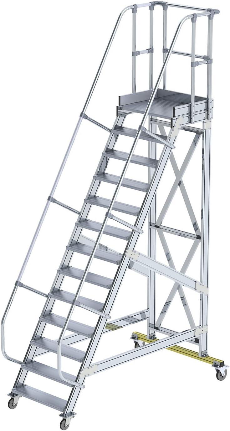 GÜNZBURGER STEIGTECHNIK Escalera de plataforma de aluminio, móvil, 60°, 800x13: Amazon.es: Oficina y papelería