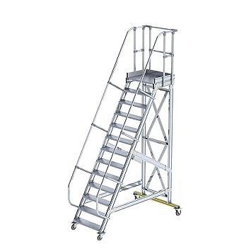 Seguridad Escaleras, Ruedas de transporte – Ángulo de inclinación 60 ° – 13 peldaños –