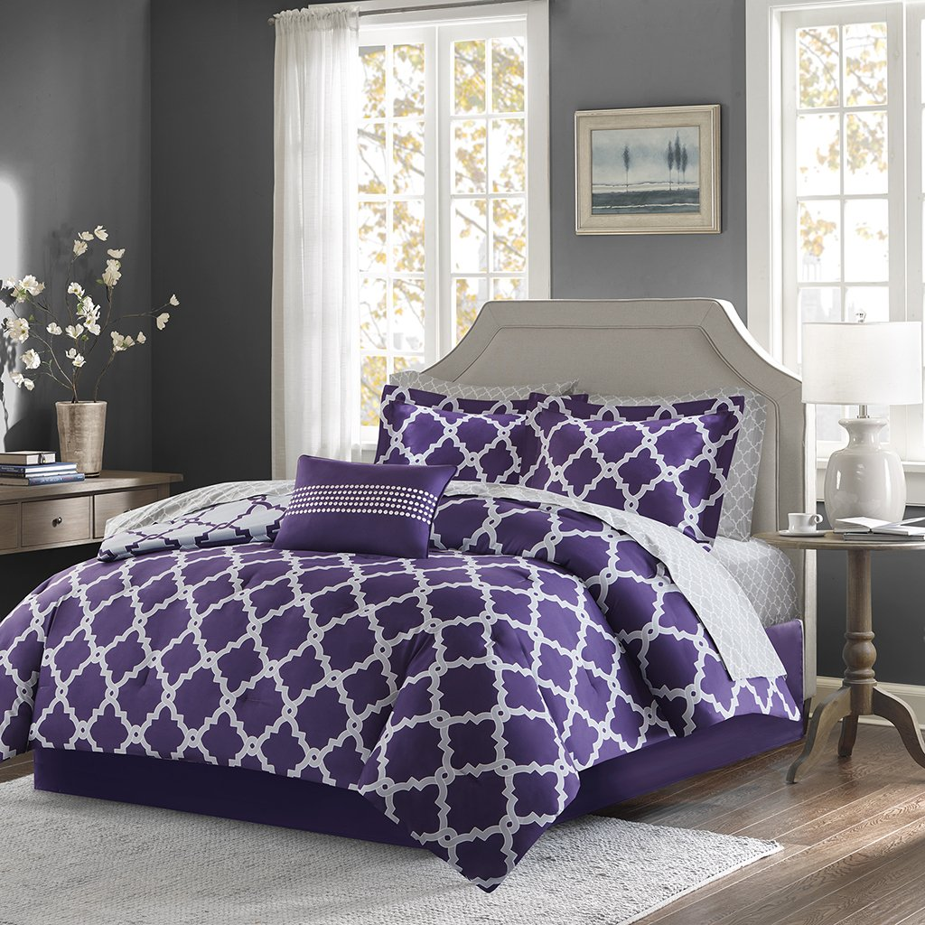 Merritt Complete Bed and Sheet Set Purple/Grey King