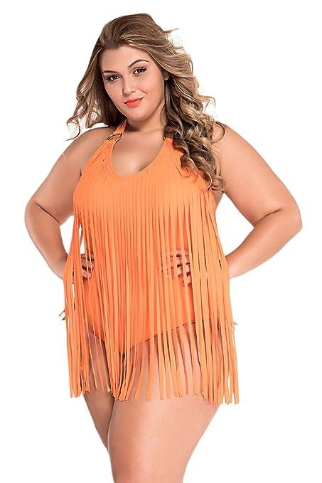 4e0ffbc34114 Nueva mujer Plus Size naranja con flecos Bañador bañadores de una ...