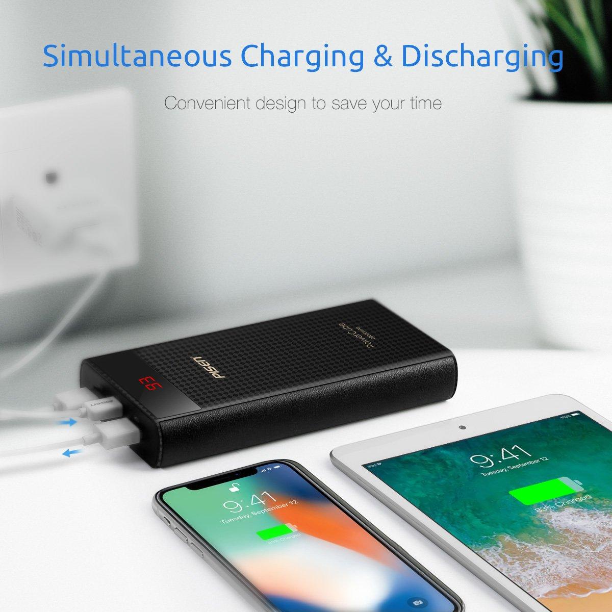 PISEN Batterie Externe 20000mAh USB C   Micro LED Affichage Chargeur Entrée  Portable 2 USB Sortie Power Bank Charger Rapide Haute Capacité Batterie de  ... e43f4800ada
