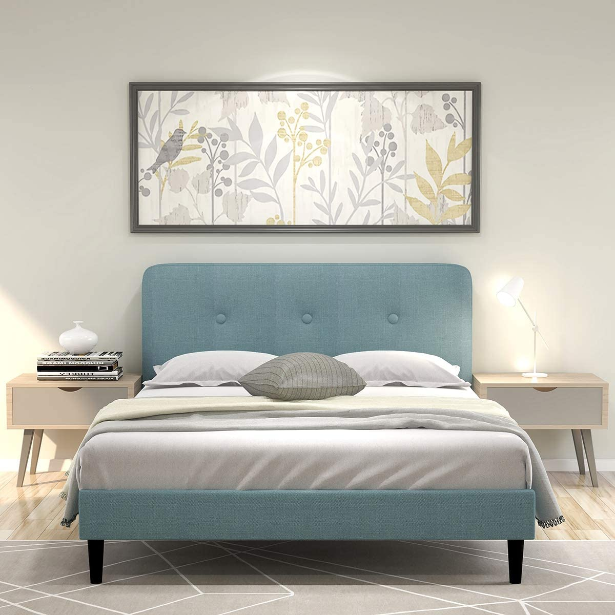 Upholstered Button Tufted Platform Bed with Headboard Strong Wood Slat Support Mattress Foundation Easy Assembly Blue Queen