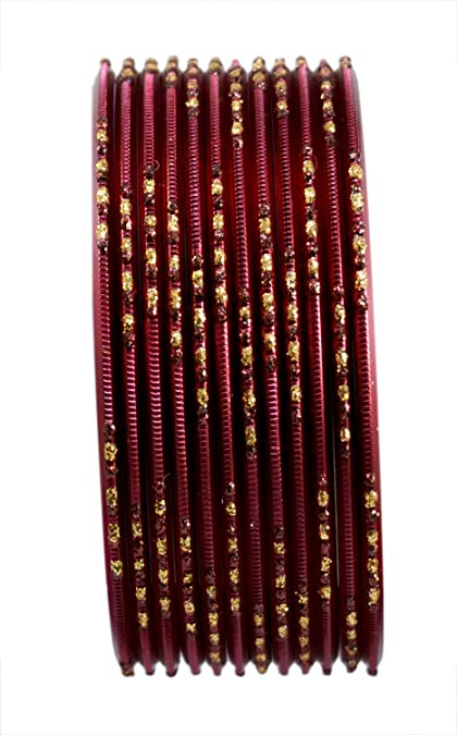 Chudi Jewelry Maroon Color Indian Bollywood Fashion Daily Wear Metal Bangles