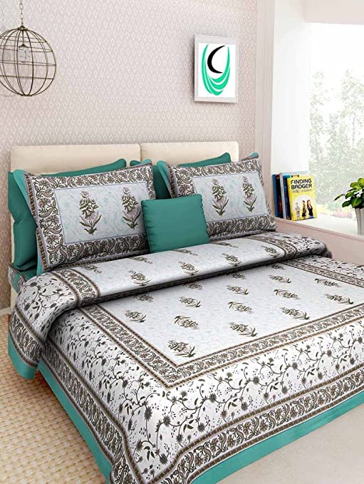 572f286cc10 Bombay Spreads Rajasthani Jaipuri Traditional Print Cotton Double Bedsheet  with 2 Zipped Pillow Cover (Multicolor