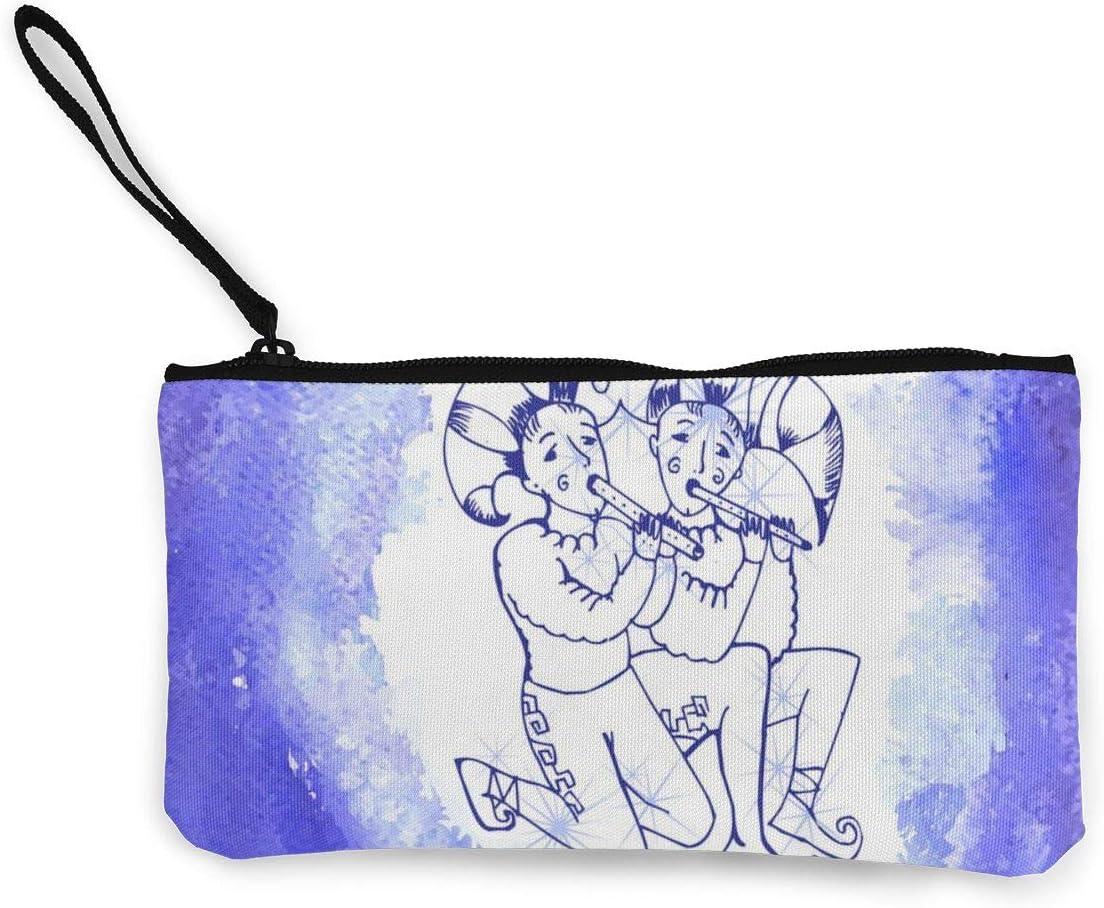 N/C Signo de astrología Géminis Vector Imagen Linda de Lona Cambio Monedero Bolsa de Bolsa con Cremallera Titular de la Correa de Muñeca Maquillaje Estuche para Mujeres Niñas Personalizado
