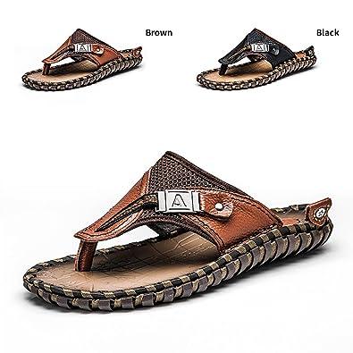 34c1930a5cf70 ENLEN BENNA Men s Beach Flip-Flops Leather Thong Sandals Men Bottle Opener Flip  Flops Summer Outdoor