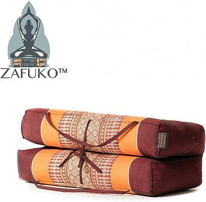 Zafuko Large Foldable Meditation and Yoga Cushion - Orange/Burgundy