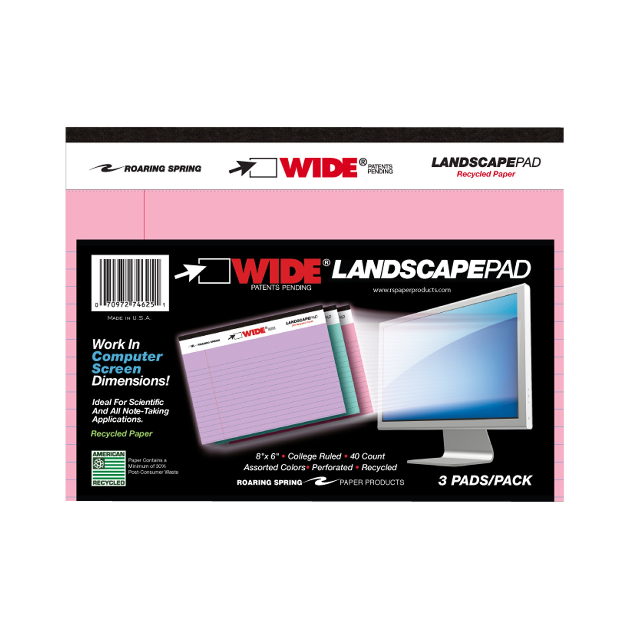 ROARING SPRING LANDSCAPE PAD ASSORTED 3/PK 8''x6'' RULED