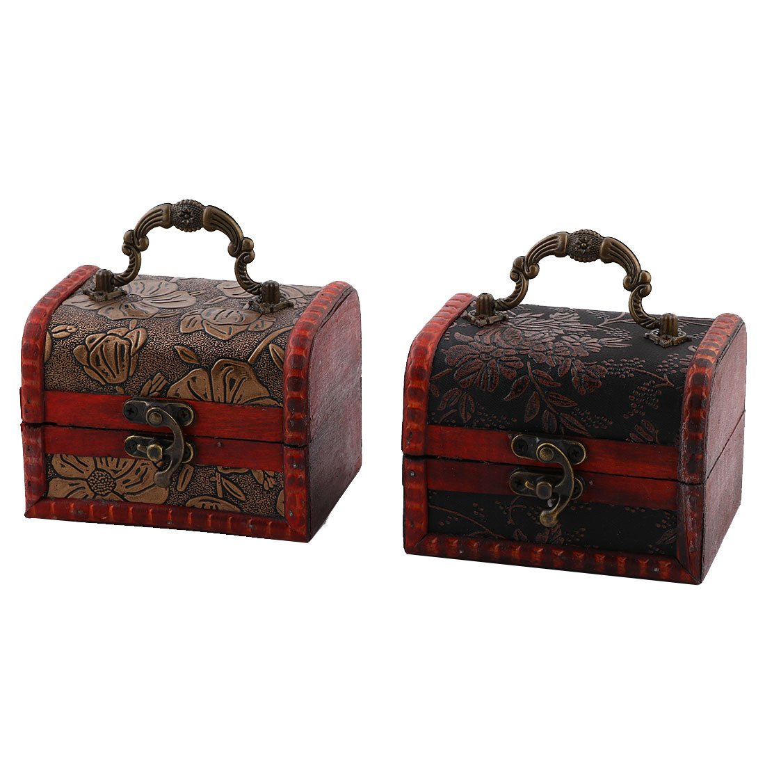 uxcell Wood Household Retro Style Ring Jewelry Candy Box Case Organizer 2 Pcs Dark Red