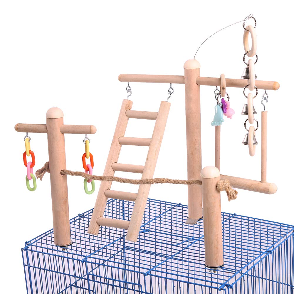 QBLEEV Bird Cage Stand Play Gym, Green Cheek Conure Perch Playground, Wood Parrot Climbing Ladder Chewing Chain Swing for Lovebirds Budgies Finches Parakeets, Small Animals Activity Center by QBLEEV
