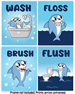 Modern 5th - Kids Bathroom Signs Cute Shark Print with Mini Wall Stickers (Set of 4 Unframed - 8 X 10 Inches), Teens, Boys and Girls Funny Bathroom Sign Wall Art Decor Prints, Colorful Art Poster