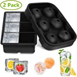 Ice Cube Trays Silicone Set of 2,Sphere Round Ice Ball Maker and Large Square Ice Cube Mold for Chilling Burbon Whiskey, Cocktail, Beverages and More