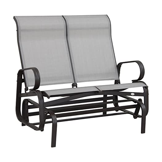 Outsunny Patio Glider Bench Rocking Chair 2 Seater Outdoor Porch Furniture  Rocker Texilene Aluminum