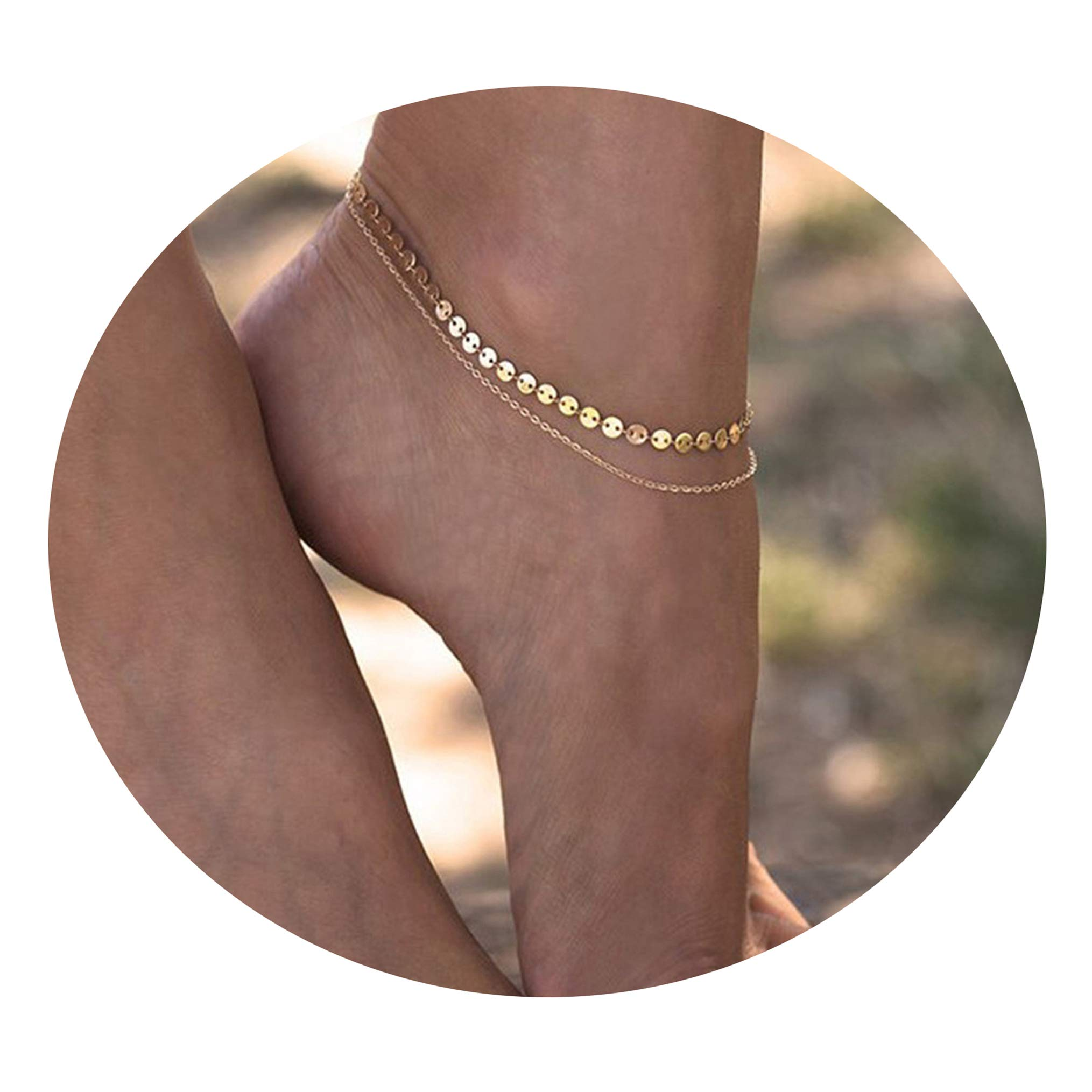 Women Dainty Anklet,14K Gold Plated Double Layered Cute Beads Chain Tassel Coin Disc Heart Summer Ankle Bracelet Boho Beach Foot Chain (Ank-7-Layered Coin GD) by Befettly