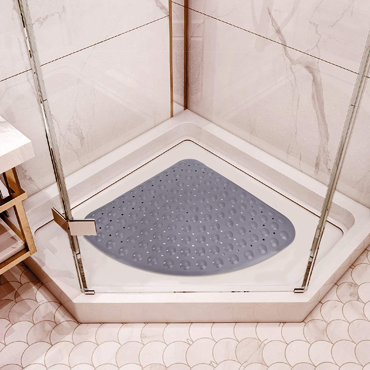 Non Slip Shower Bath Mat with Suction Cups and Drainage Holes Bathtub Safety Pad for Kids Toddler Baby 54 x 54cm Corner Anti-skid Quadrant Grip Mat for Tub Grey