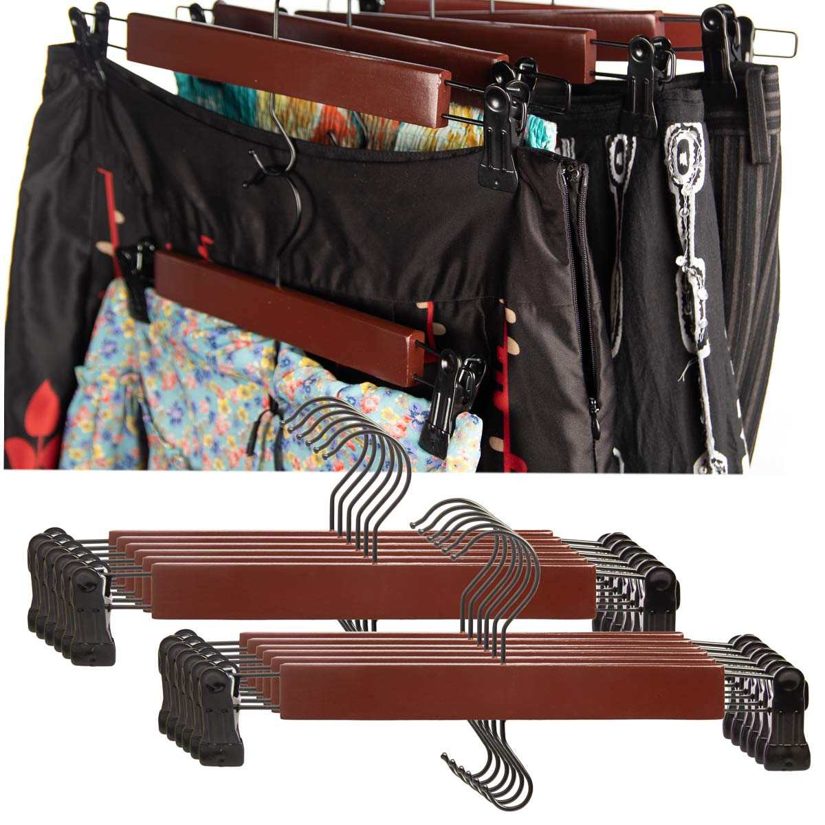 Tidy Living (12 Pack Wood Hangers with Clips Wooden Hangers Cherry Clothes Pants Hanger for Closet