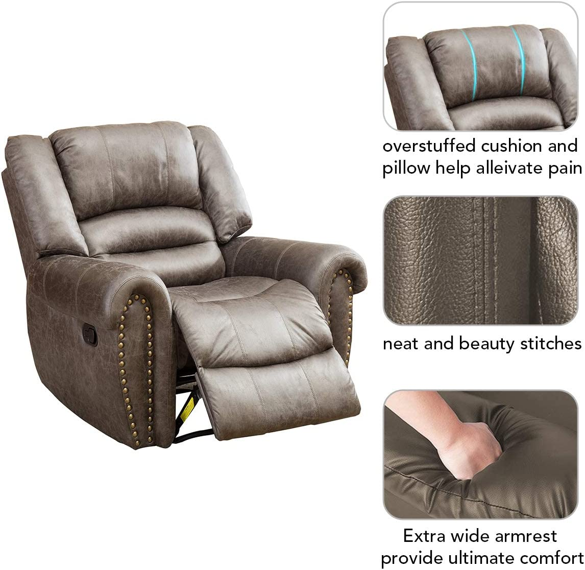 BONZY Oversized Recliner Leather Lounge Chair ultimate comfort leather