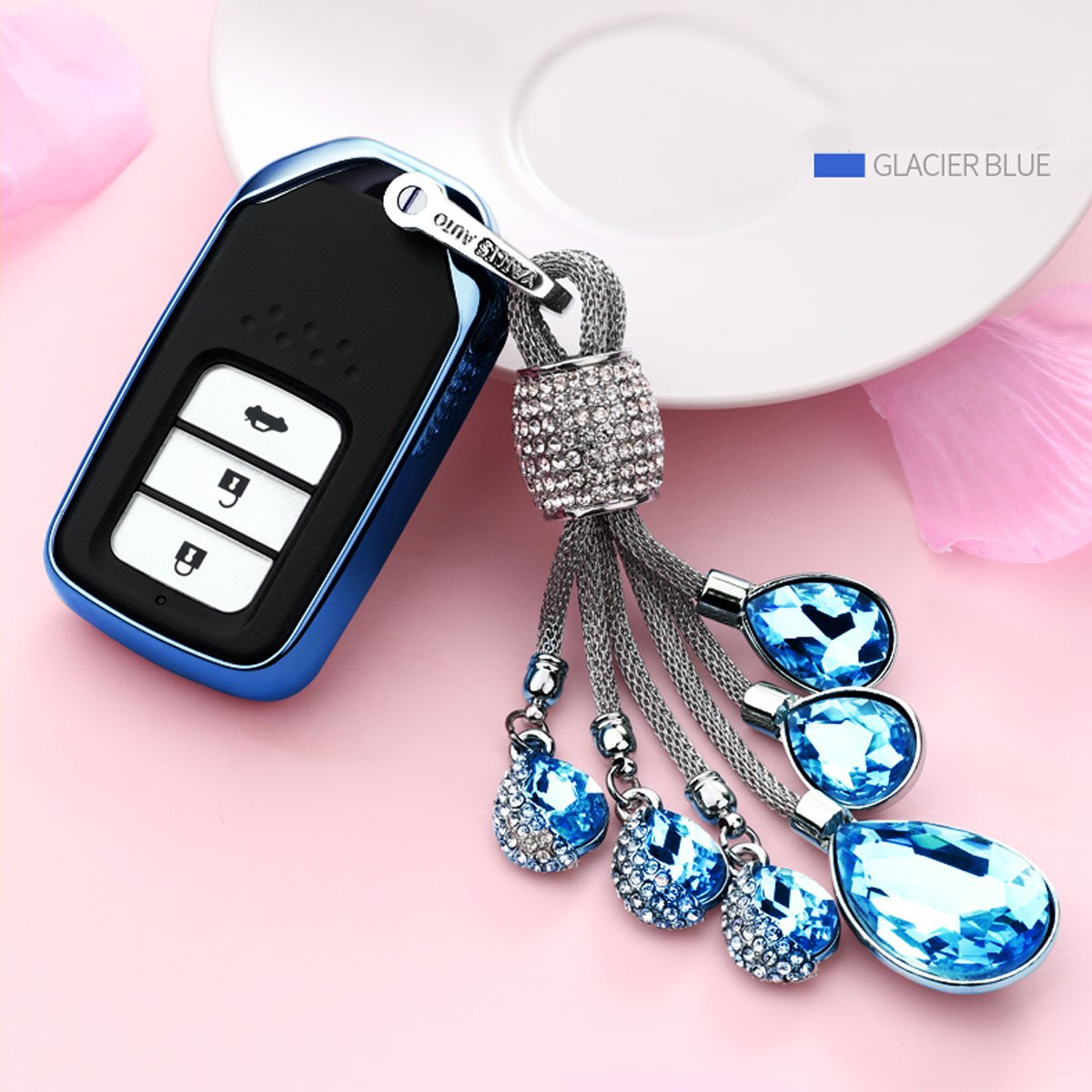 MODIPIM Keyless Entry Remote Cover Soft TPU 2//3//4 Buttons Smart Key Fob Case with Braided Cord Keychain for Honda Civic Fit CR-V XR-V Jade Accord Vezel Pilot Crider Odyssey Color Blue