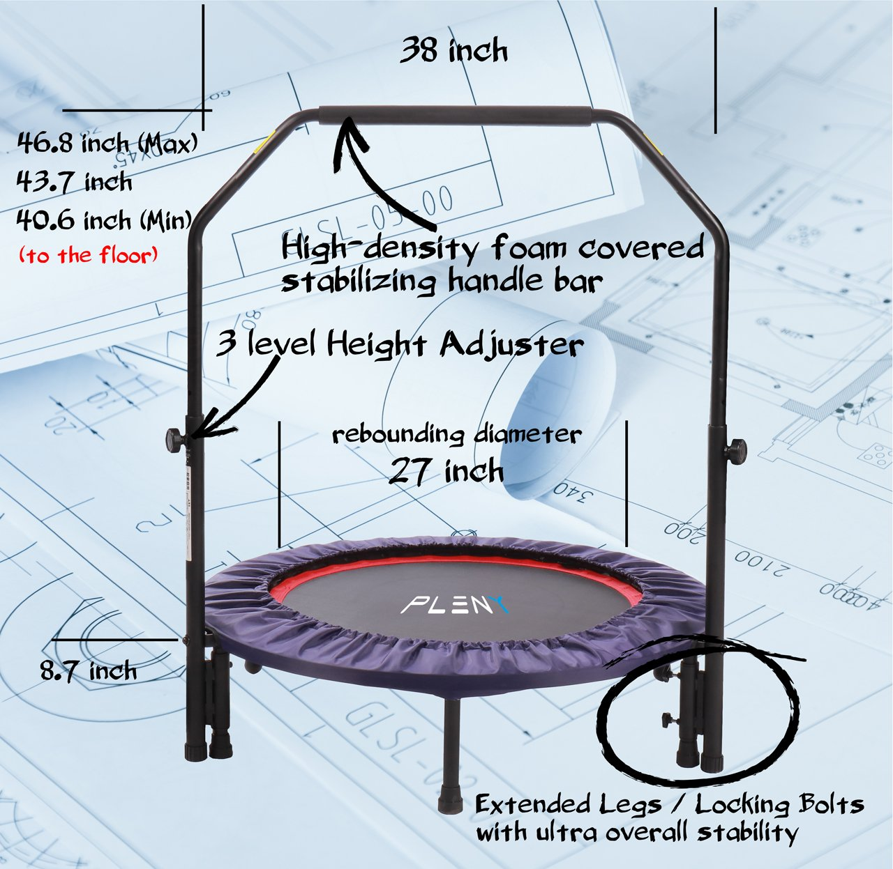 "PLENY 38"" Mini Fitness Trampoline"