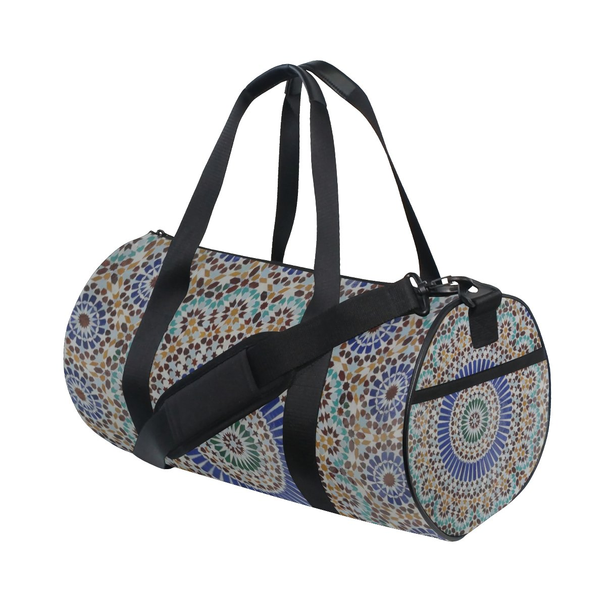 Geometrical Pattern Lightweight Canvas Sports Bag Travel Duffel Yoga Gym Bags