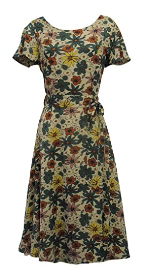 ee64cddb497b New Ladies Retro WW2 Wartime 1930's 40's Style Floral Beige and Green Tea  Dress: Rosa Rosa: Amazon.co.uk: Clothing