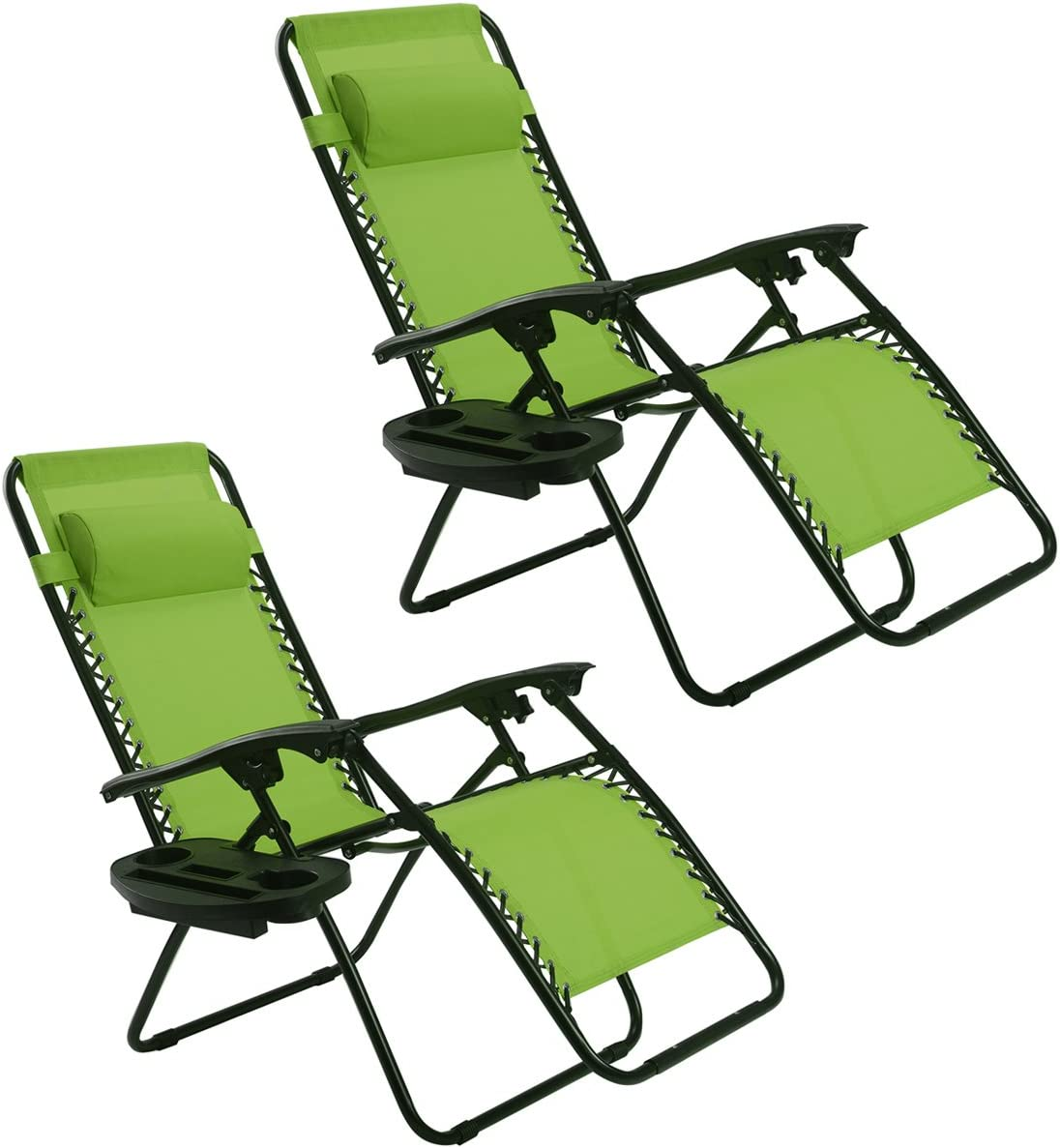 Goplus Zero Gravity Chairs, Lounge Patio, Folding Recliner, Outdoor Yard Beach with Cup Holder, Green, 2 Piece