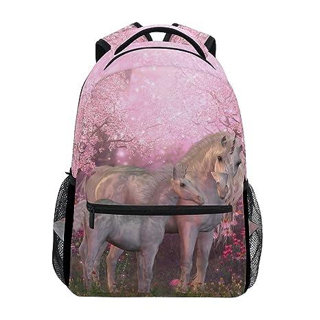 ZZKKO Mochilas con diseño de unicornio floral para colegio, libros, viajes, senderismo, acampada: Amazon.es: Deportes y aire libre