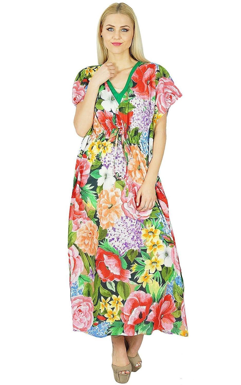 Bimba Frauen lang Maxi Blumen Kaftan Multicolor Cotton Kaftan Blumenkleid