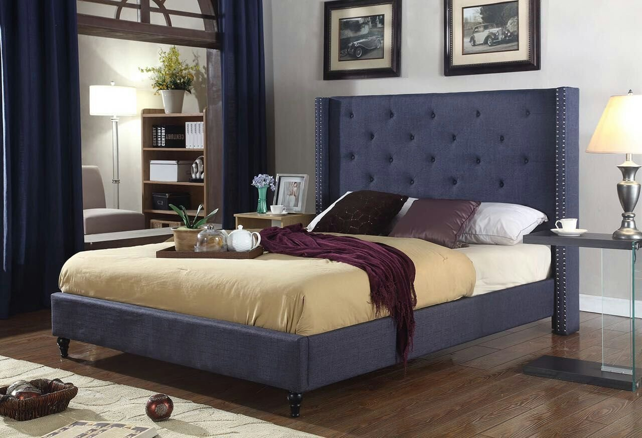 LIFE Home Premiere Classics Cloth Charcoal Blue Linen 51'' Tall Headboard Platform Bed with Slats Queen - Complete Bed 5 Year Warranty Included 007 by LIFE Home