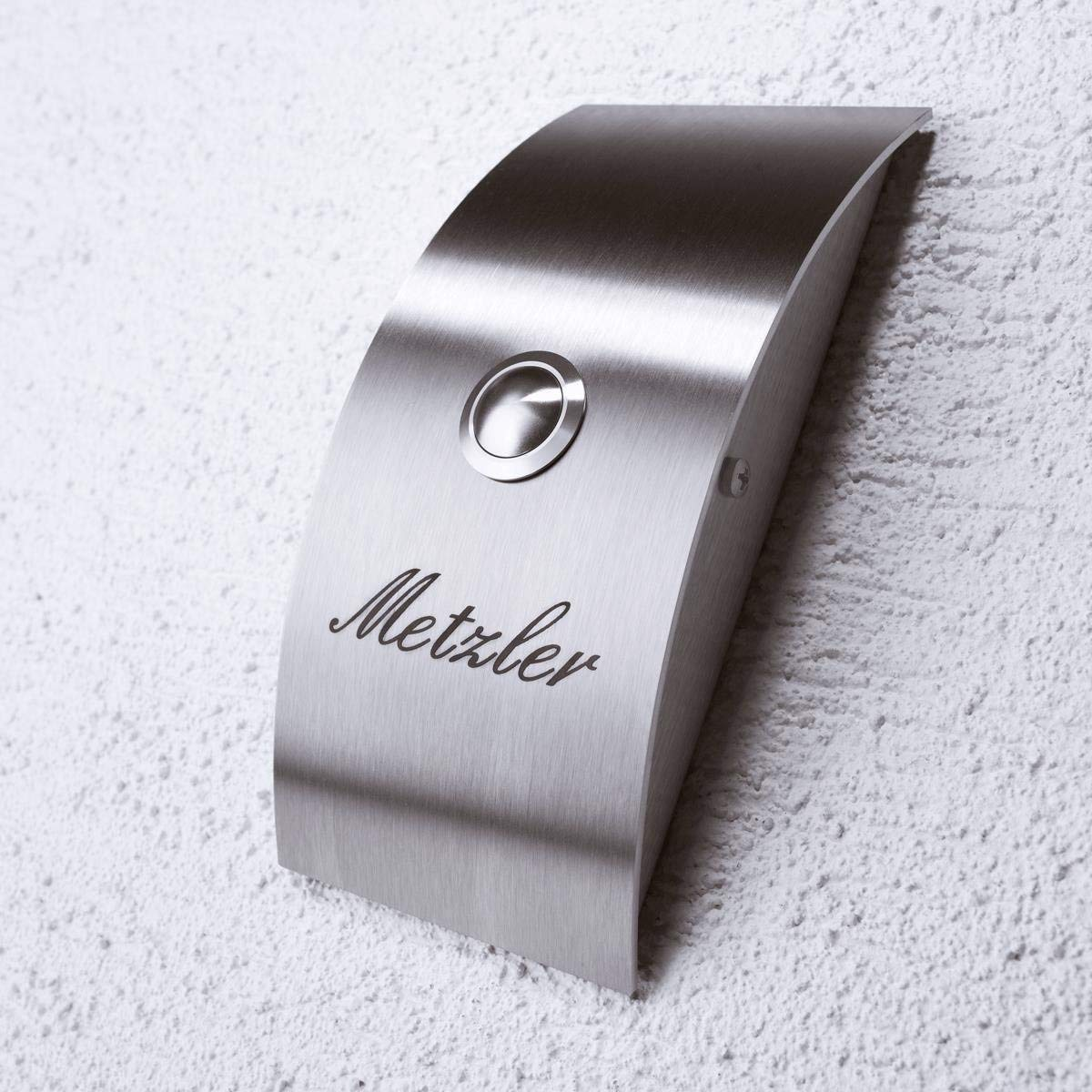 Timbre inal/ámbrico Timbre de puerta inal/ámbrico Acero Inoxidable con grabado. Dise/ño moderno con forma arqueada. Timbre de acero inoxidable, IP67/C/ódigo impermeable tama/ño: 90/x 190/mm