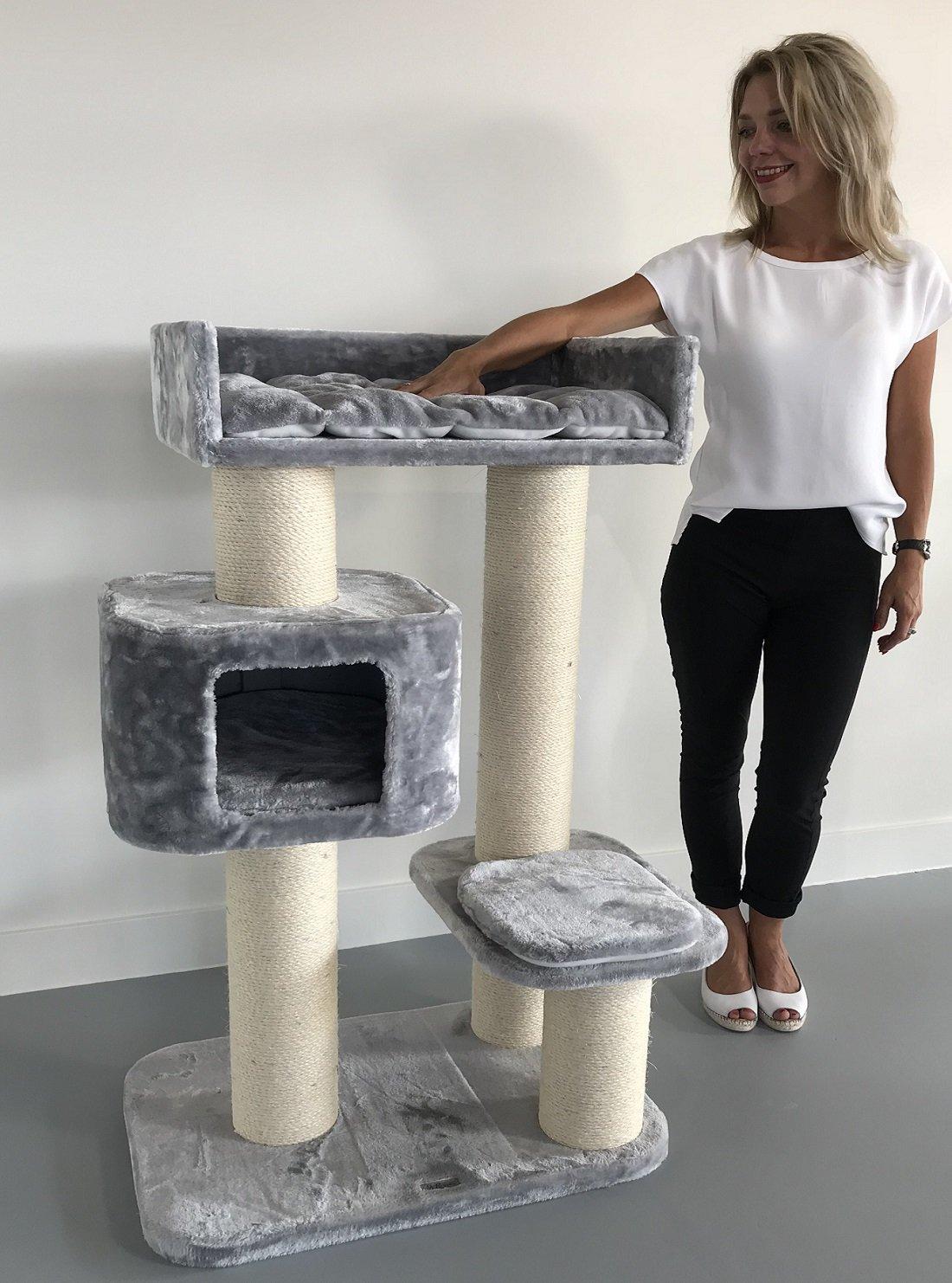 arbre chat g ant grand chat xxl devon rex gris clair. Black Bedroom Furniture Sets. Home Design Ideas
