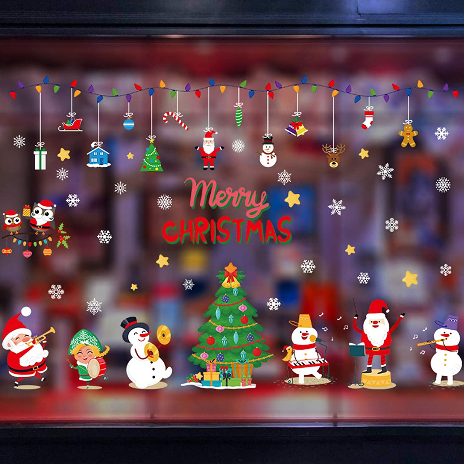 Christmas Decorations Wall Decor, Christmas Tree Snowman Santa Claus Wall Decals for Living Room Bedroom Classroom Windows Stores Christmas Ornament