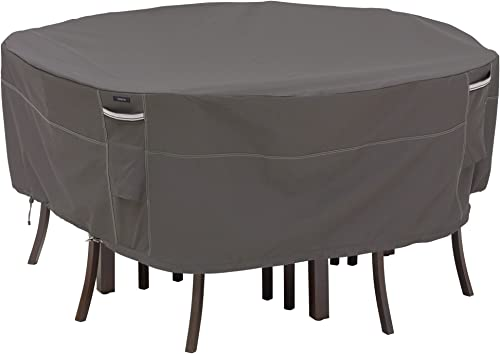 Classic Accessories Ravenna Water-Resistant 82 Inch Round Patio Table Chair Set Cover