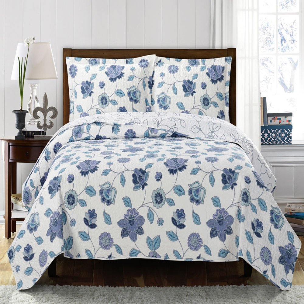 Moon Daughter Oversize King Size Miranda Coverlet Bedspread Set 100% Microfiber Quilt Bedding For Beds