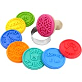 LoveS 8 PCS Cookie Cutter Cookie Mold Stamp Wood Handle Safe Silicone Mold Stamp Cookie Cutter with 1 Colorful Round Cutter As Gift, 8 Patterns