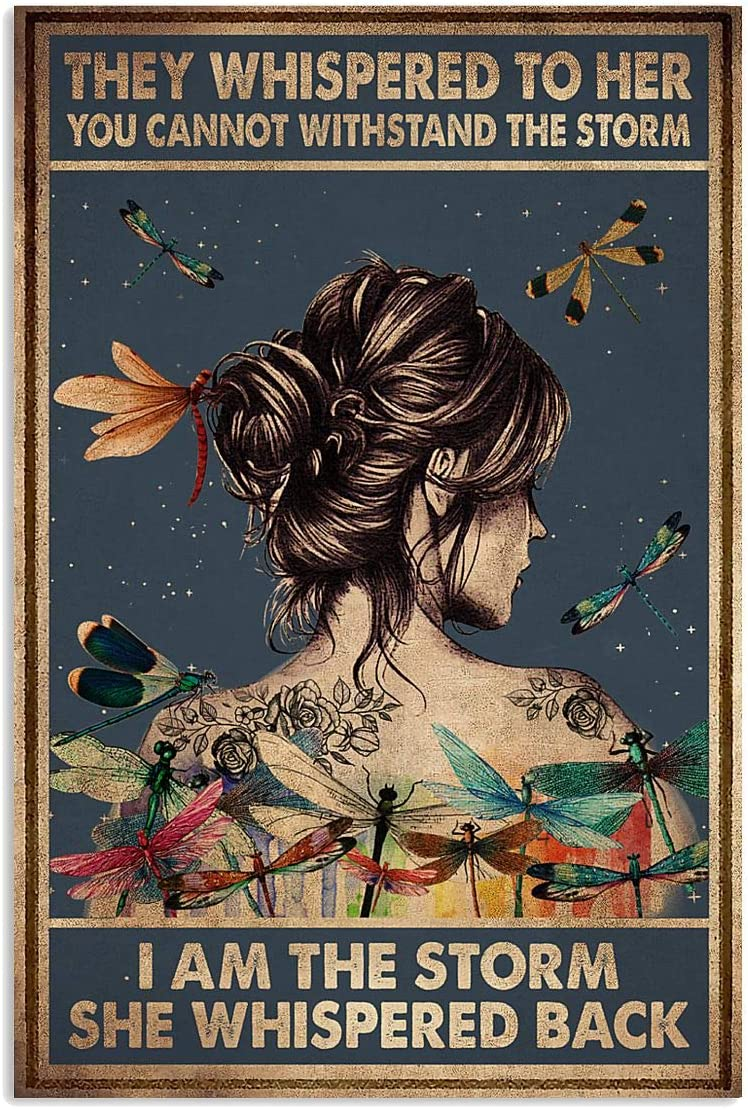 Hippie Dragonfly I Am The Storm She Whispered Back Satin Portrait Poster