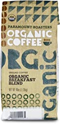 Certified Organic Coffee, Breakfast Blend, Medium Roast from Paramount Roasters, 40 oz, Ground, USDA Certified, Kosher Certified
