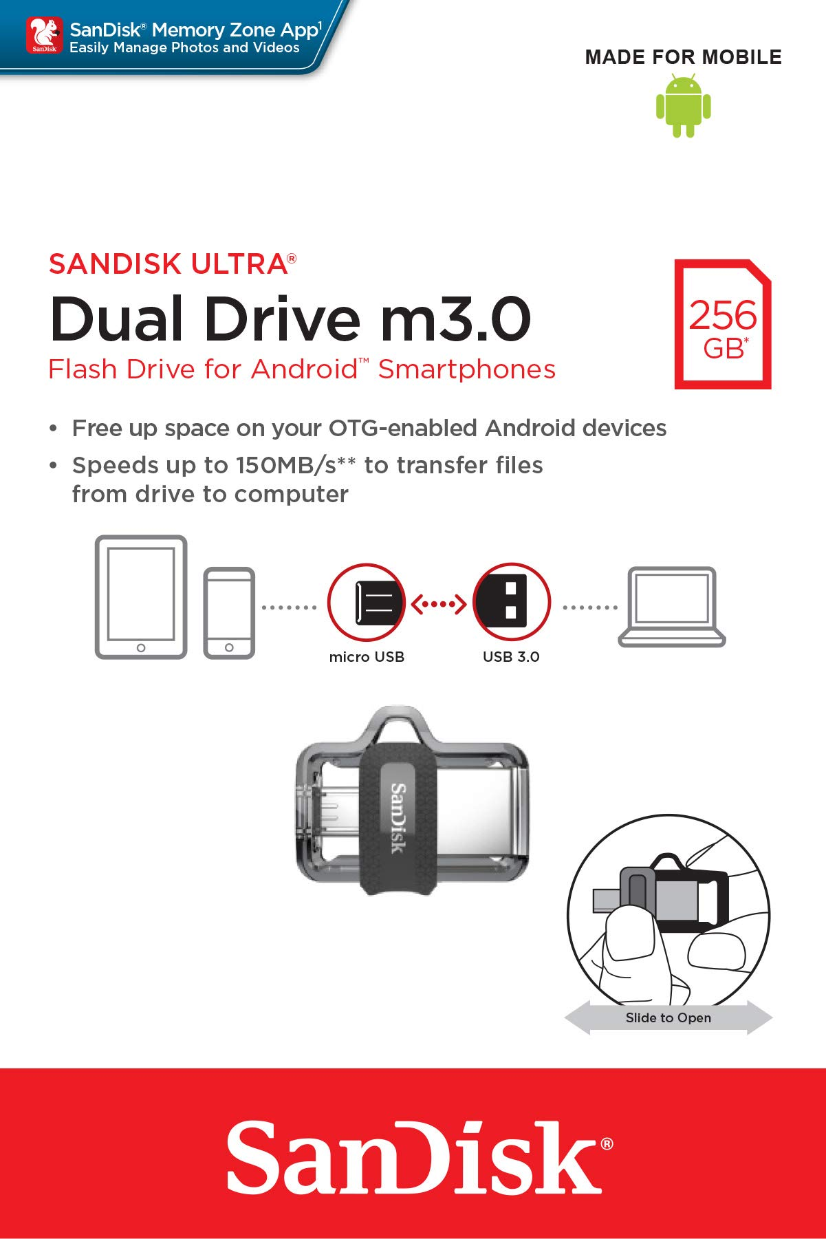 SanDisk 256GB Ultra Dual Drive m3.0 for Android Devices and Computers - microUSB, USB 3.0 - SDDD3-256G-G46 by SanDisk (Image #7)