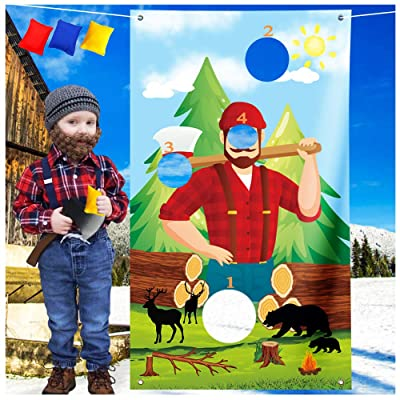 supergift Lumberjack Toss Game with 3 Bean Bags - Lumberjack Theme Party Supplies Camping Woodland Bear Woodsman Bday Party Sign Decorations: Toys & Games