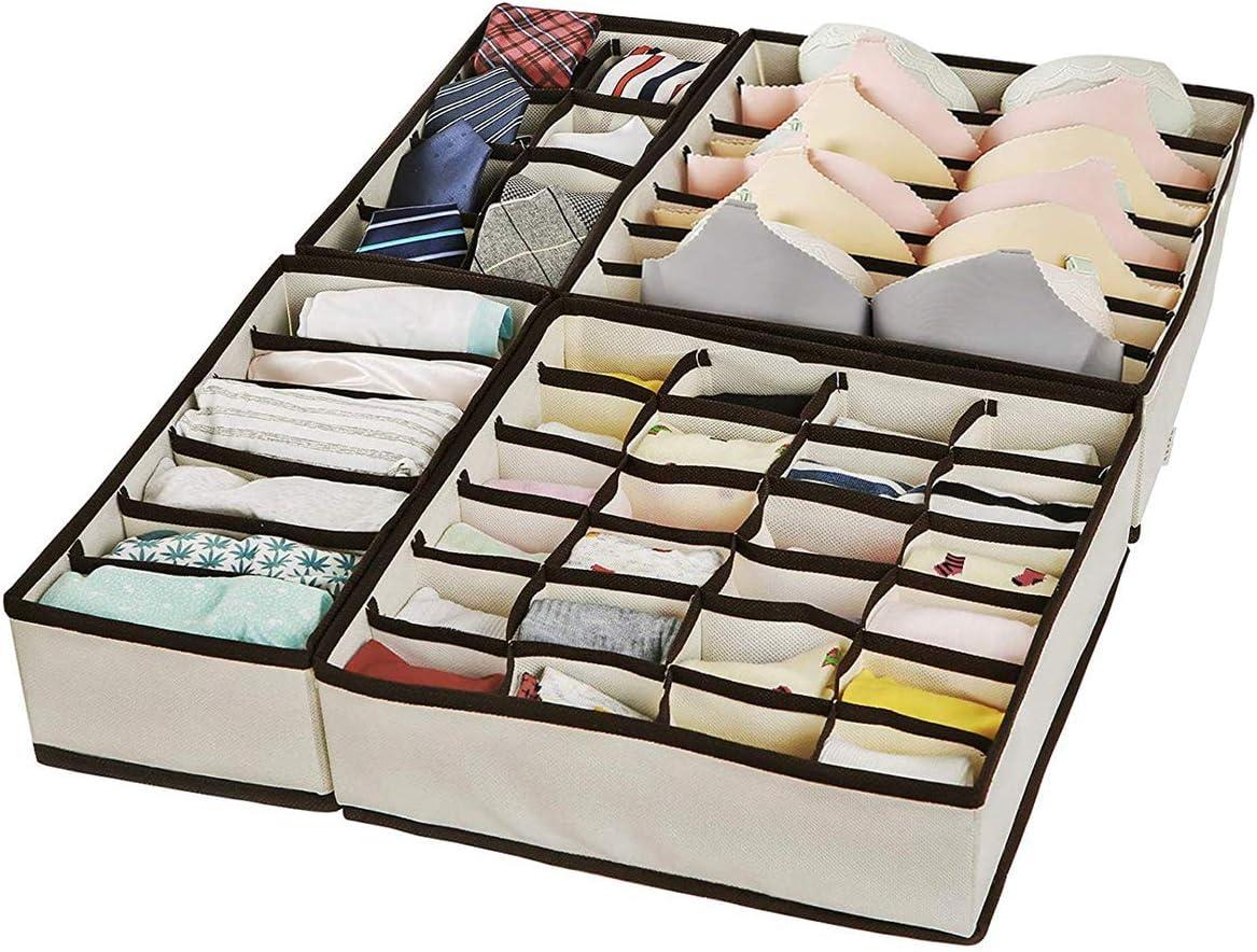 Unterw/äsche Ordnungssystem f/ür Kleiderschrank Stoffbox faltbar Krawatten 4er Set Schubladen-Organizer f/ür BHS Faltbox Socken XLTOK Aufbewahrungsboxen f/ür Unterw/äsche