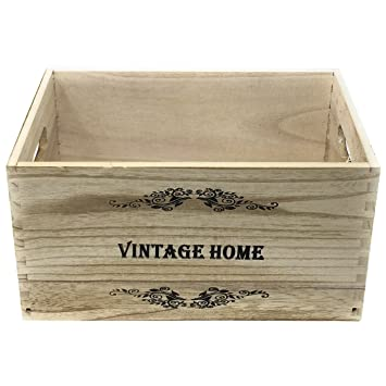 Vivadecor Caja de Madera Estilo vintage-20 x 41 x 31 cm: Amazon.es: Hogar