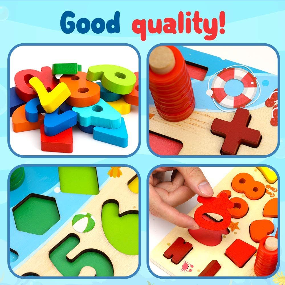 LESONG Wood Number Puzzle Sorting Montessori Fine Motor Skill Toys for Toddlers 3 4 5 Year Olds Stacking Preschool Learning Toy Shape Sorter Counting Games for Boys /& Girls Fishing /& Sorting