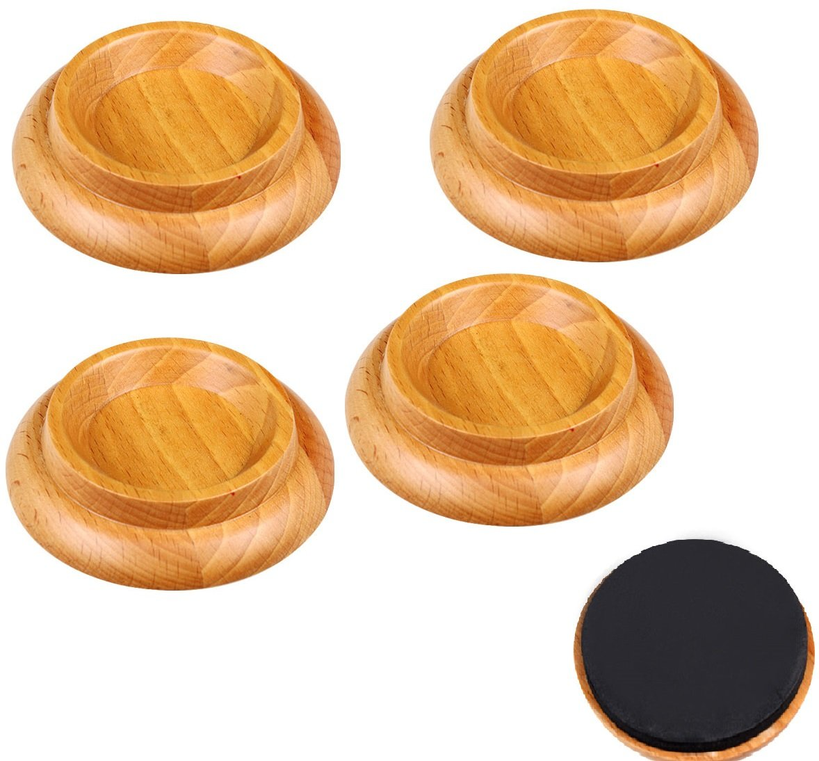 Anti slip Piano Caster Cups Furniture Wheel Caster Cups Floor Protectors with Non Skid Wood color [4 Pack]