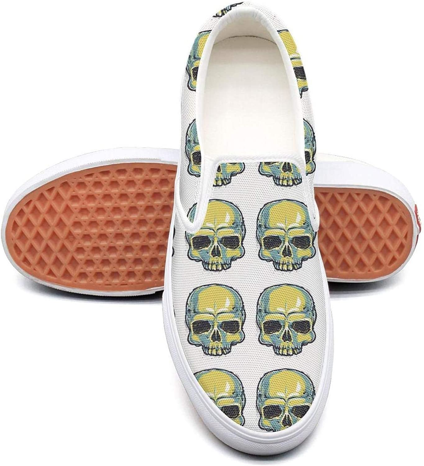 Skull Skull Want U Slip On Canvas Upper Sneakers Painted Canvas Shoes Casual Shoe for Women Fashion